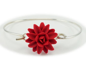 Dahlia Bracelet Sterling Silver Bangle - Dahlia Jewelry