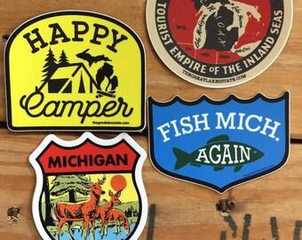 Michigan Vintage Sticker pack of 4