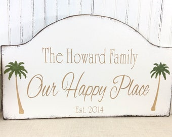 Personalized family beach house sign, beach decor, tropical sign, housewarming gift, realtor gift, Mother's Day, vacation condo, custom sign
