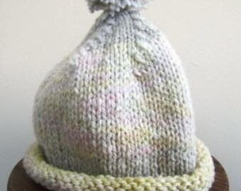 Baby Hat Hand Knit Dyed Wool Pom Unisex Infant Cap Retro  - Size Small