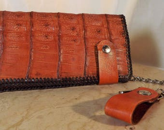 STOUT-HEARTED  a Large Rich Caramel Genuine Alligator Leather Chain Wallet