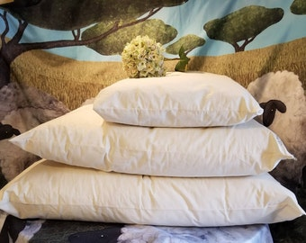 The Shepherd's Pillow - 100 percent wool filled pillows and 100% cotton covers with zipper. Chemical Free