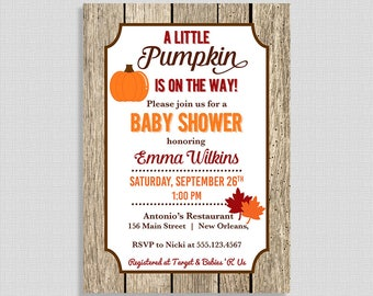 Little Pumpkin Baby Shower Invitation, Fall Shower Invite, Autumn Shower Invite, Leaves, Gender Neutral, DIY PRINTABLE