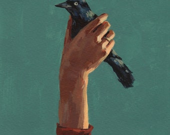 Bird in Hand . giclee art print available in all sizes