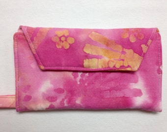 The Watercolor: Pink and Orange Paint Splotch Cell Phone Wallet