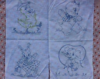 Vintage Pre-Printed/Stamped Pattern Fabric Quilt Blocks, Duck, Elephant, Cat, Bunny Embroidery