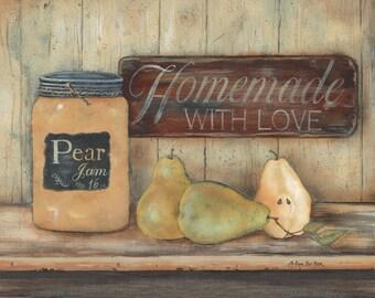 Kitchen Wall Decor,Primitive Kitchen Wall Decor,Country Kitchen,Pear Jam,Mason Jars,12x16,Pam Britton