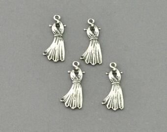 Antique Silver Tone Dress Charm (AS00-0060)