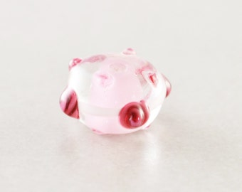 Pink Bead, Polka Dot,  Lampwork Bead, Glass Bead, One