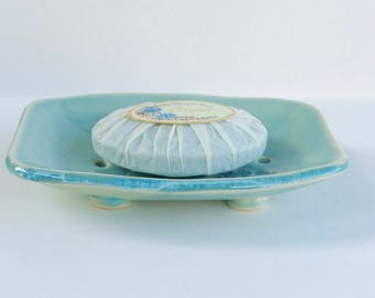 Ceramic Soap Dish, Queen Anne's Lace, Handmade, Footed