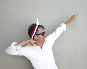 UNICORN Freedom Headband - Red White and Blue American Horn Sweatband