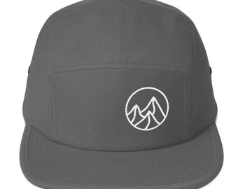 Simple Embroidered Mountains Five Panel Cap