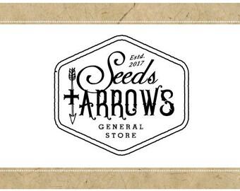 Custom Logo Design - PreDesigned Logo PreMade Logo Vector Logo - OOAK Logo - SEEDS and ARROWS Logo - Arrow Logo - Vintage Label Logo