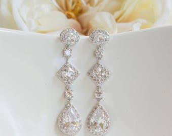 Wedding Earrings | Bridal Earrings | Long Earrings | Bridesmaid Earrings | Wedding Jewelry | Rose Gold Earrings | Yellow Gold Earrings