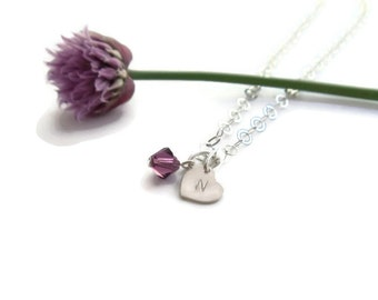 single tiny initial heart necklace // custom hand stamped mothers jewelry // sterling silver