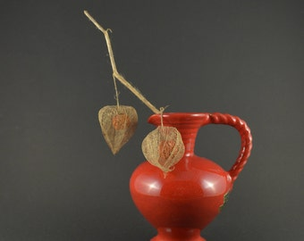 Vintage Red Pitcher, Lava Red Pitcher, Handmade Pottery Vase, Small Pitcher, Allgauer Keramik, German Ceramics, Mid Century Modern Vase