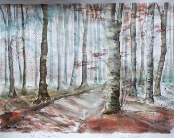 Watercolor landscape, autumn, original watercolor painting, watercolor on paper, wall art, landscape