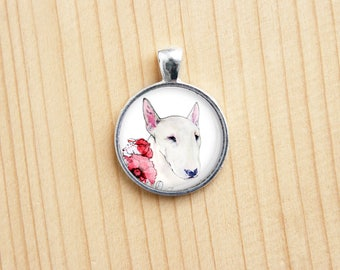 Bull terrier dog animal flowers pet nature round pendant any picture photo custom jewelry art glass dome great gift present charm necklace