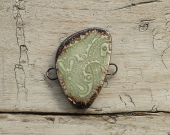Handmade ceramic green and bronze connector bead