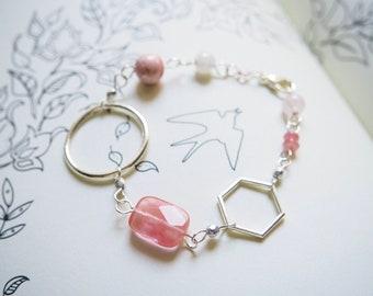 Pink Gemstone Bracelet, Cherry Quartz, Rhodochrosite, Rose Quartz, Pink Jade, Silver, Circle, Hexagon, Honeycomb, Heart Chakra