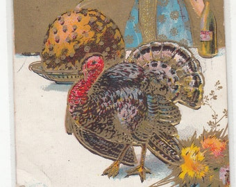 1908 Beautiful Woman Antique Postcard,Rich Gold,Turkey And Plum Pudding, Gold Saying At Top