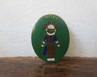 Vintage '70s HOPI Native American Kachina Enamel Button / Kachina Enamel Pin, Lapel Pin