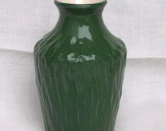 Green Carved Flask - Pottery Flask - Ceramic Flask - Bud Vase