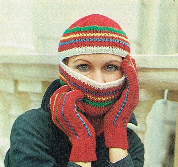 Vintage Knitting Pattern Striped Helmet With Matching Gloves Hat