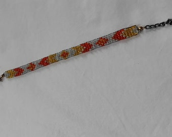 Orange Geometric Beaded Bracelet