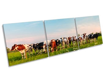 Cow Herd Farm Field Cattle Print CANVAS WALL ART Treble Panel Picture
