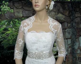 Lace bolero, wedding bolero, wedding jacket, ivory 3/4 sleeve wedding bridal bolero jacket - embroidered lace