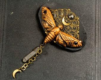 Hair clip, moth, Witch, magic, moon