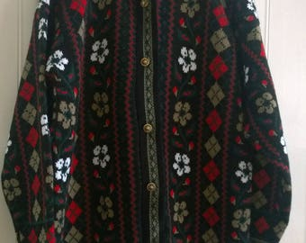 Vintage black, red, white flower & argyll granny cardigan large
