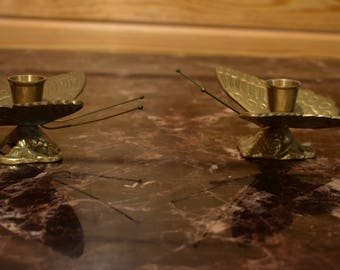 Brass Butterfly Candle Holder