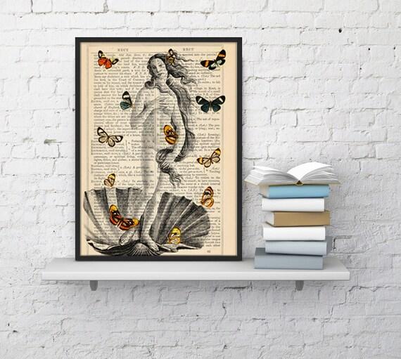 Venus and Butterflies collage print butterflies Butterflies and Venus poster Print Wall art bathroom print Decor BFL107