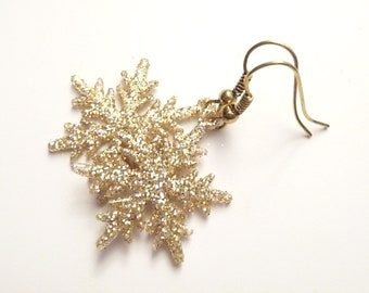 Gold Earrings, Snowflake Earrings, Holiday Earrings, Glitter Earrings, Sparkly Earrings, Winter Earrings, Christmas Earrings