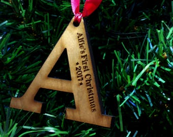 Personalised Child's First Christmas Tree - Decoration Wooden Letter Gift Bauble Present Alphabet Xmas