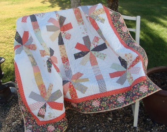 Handmade Throw Quilt - Petals on a String quilt in Sundrops Fabric