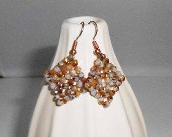 Brown Beaded Earrings in Diamond Shape
