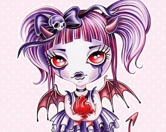 Broken Hearted Celestine 8 x 10 Art Print - Valentine's Day, Anti-Valentine Illustration