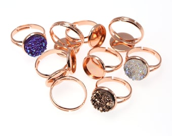 10PCS of 12mm Rose Gold Brass Ring Blanks, Ring Tray, Fully Adjustable Ring Blanks