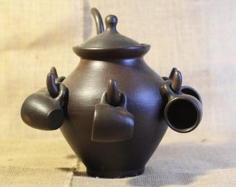 Purple Clay Chinese Tea Pot with Tea Cups / Vintage Kitchen Kettle