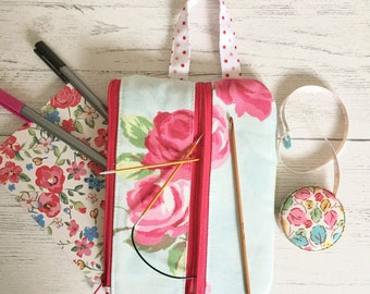 Project bag / pink rose make up bag/ notions pouch/ planner / pencil case/ double zip pouch