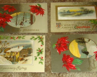SALE 4 Vintage Christmas Postcards