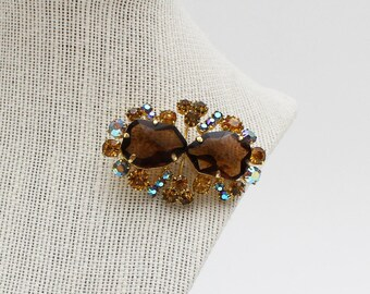 Amber and Root Beer Rhinestone Brooch - Vintage 1960s Gold Tone Brooch