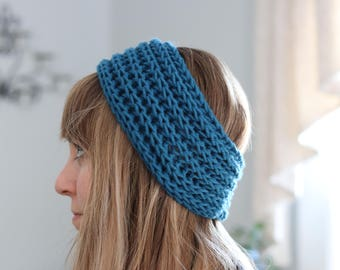Blue Headband - Womens Knit Headband - Teal Earwarmers - Knit Winter Headband - Blue Womens Hairband - Winter Hair Accessory