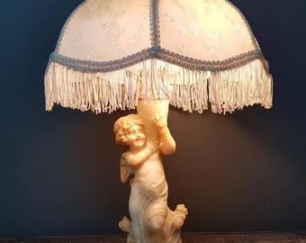 Art Deco period carved alabaster cherub lamp with Greek key pattern with period shade circa 1920s