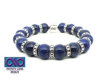 Lapis Lazuli 10mm AAA Grade Beads with an 8mm x 8mm Sterling Silver Handmade Infinity LOGO Bead and other Handmade S/S DOT Beads