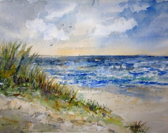 Beachscape, Print Of Watercolor Landscape Painting, watercolor art seascape painting beach shore ocean waves sand dunes summer painting.