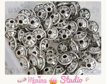 10 beads silver metal with inlaid stars, Moon 8, 5 x 8, 5mm